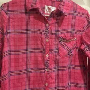 Pink and navy plaid shirt - 16